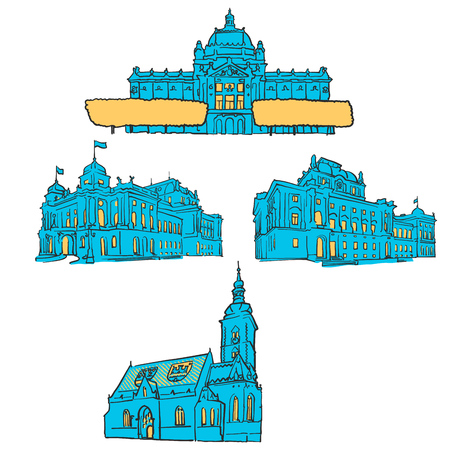Zagreb Croatia Colored Landmarks, Scalable Vector monument. Filled with Blue Shape and Yellow highlights.