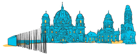 Berlin Germany Colored panoramic, Filled with Blue Shape and Yellow highlights. Scalable Urban Cityscape Vector Illustration Illustration