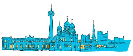 Tallinn Estland Farbige Panorama, gefüllt mit blauen Form und gelben Highlights. Skalierbare städtische Stadtbild-Vektor-Illustration Standard-Bild - 76658678