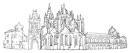 Prague Czech Republic Panorama Sketch, Monochrome Urban Cityscape Vector Artprint