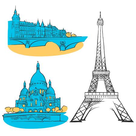 Paris France Colored Landmarks, Scalable Vector monument. Filled with Blue Shape and Yellow highlights. Illustration