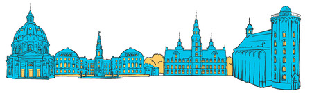 Copenhagen Denmark Colored panoramic, Filled with Blue Shape and Yellow highlights. Scalable Urban Cityscape Vector Illustration