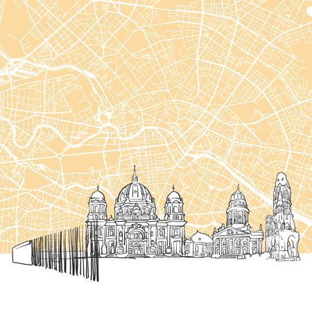 Berlin Germany Skyline Map, One Color Scalable Vector Art Print with Urban Cityscape Illustration