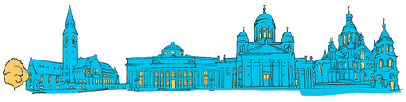Helsinki Finland Colored panoramic, Filled with Blue Shape and Yellow highlights. Scalable Urban Cityscape Vector Illustration