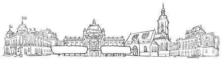 크로아티아 자그레브 파노라마 스케치, 단색 도시 풍경 벡터 아트 プリント