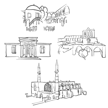 NicosiaCyprus Famous Buildings, Monochrome Outlined Travel Landmarks, Scalable Vector Illustration