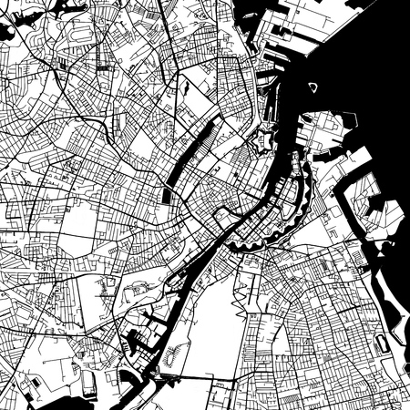 Copenhagen Denmark Vector Map Monochrome Artprint, Outline Version for Infographic Background, Black Streets and Waterways Ilustrace