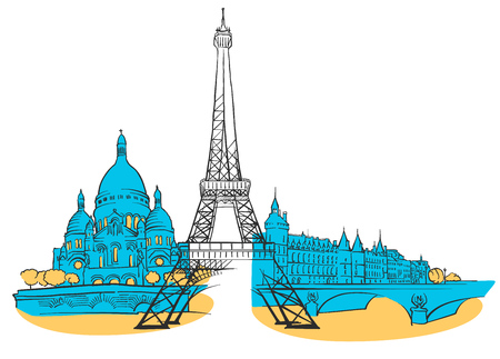 Paris France Colored panoramic. Illustration