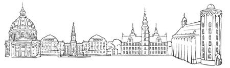 Copenhagen Denmark Panorama Sketch, Monochrome Urban Cityscape Vector Artprint
