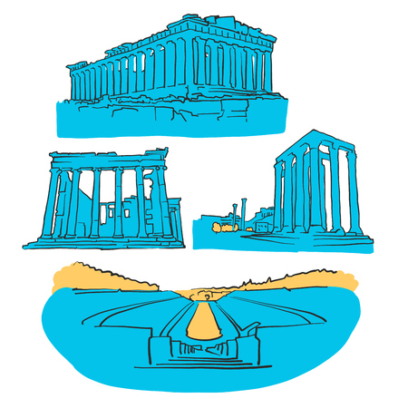 Athens Greece Colored Landmarks, Scalable Vector monument. Filled with Blue Shape and Yellow highlights.