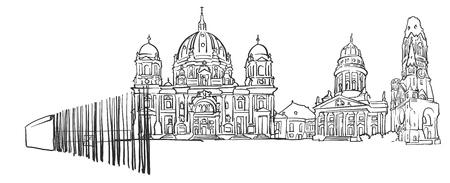 Berlin Germany Panorama Sketch, Monochrome Urban Cityscape Vector Artprint