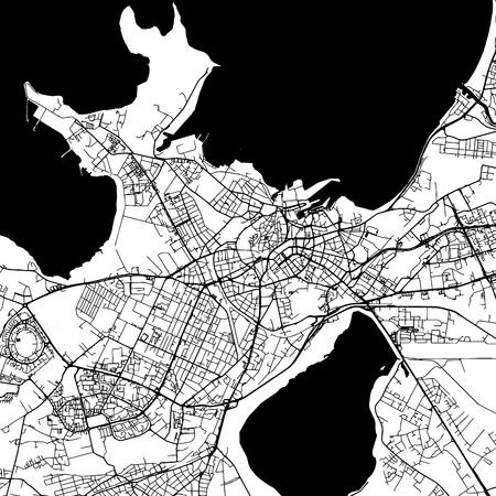 Tallinn Estland Vektorkarte Monochrom Artprint, Gliederung Version für Infografik Hintergrund, schwarze Straßen und Wasserstraßen Standard-Bild - 76843959