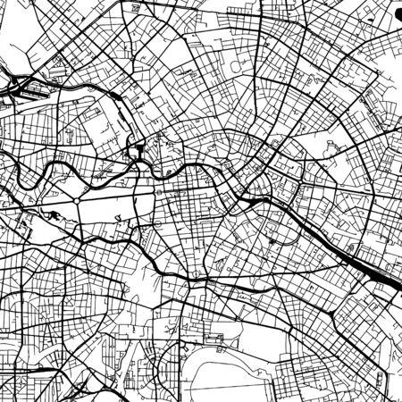 Berlin Germany Vector Map Monochrome Artprint, overzichtsversie voor Infographic-achtergrond, zwarte straten en waterwegen