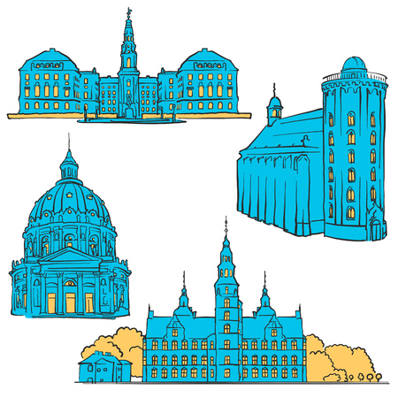urbane: Copenhagen Denmark Colored Landmarks, Scalable Vector monument. Filled with Blue Shape and Yellow highlights.