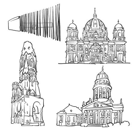 Berühmtes Gebäude Berlin Deutschland, Monochrom Beschriebene Reise Wahr, Scalable Vector Illustration.