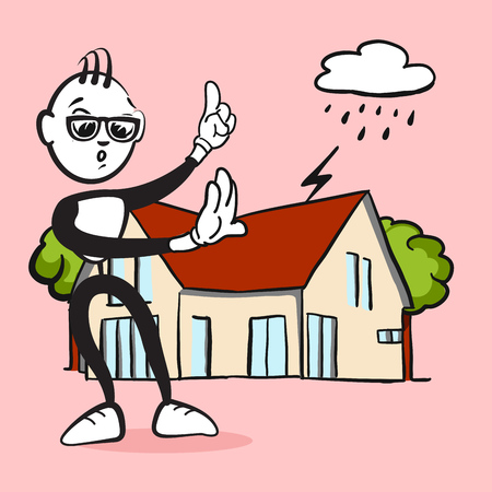 Stickman Emotion Household Assurance, Drawing with nice emotional face and background Illustration