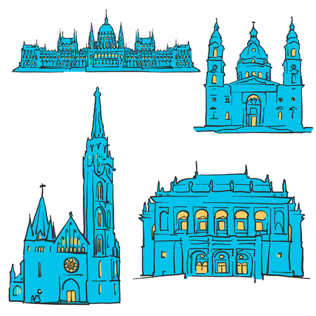 Budapest Hungary Colored Landmarks, Scalable Vector Monuments. Filled with Blue Shape and Yellow Highlights.