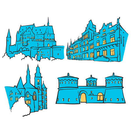 urbane: Luxembourg Luxembourg Colored Landmarks, Scalable Vector Monuments. Filled with Blue Shape and Yellow Highlights.