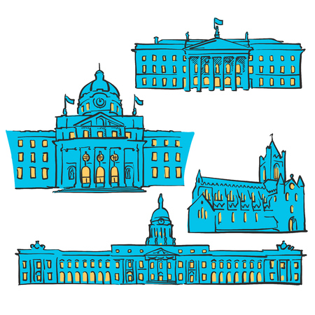 Dublin Ireland Colored Landmarks, Scalable Vector Monuments. Filled with Blue Shape and Yellow Highlights.