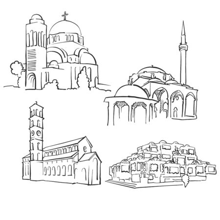 Pristina Kosovo Famous Buildings, Monochrome Outlined Travel Landmarks, Scalable Vector Illustration