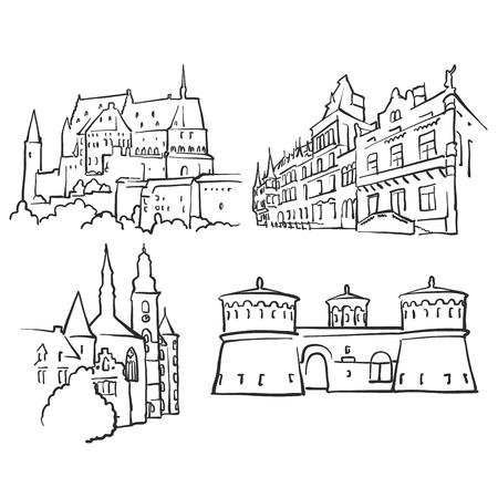 De Beroemde Gebouwen van Luxemburg Luxemburg, Monochroom Geschetste Reisoriëntatiepunten, Schaalbare Vectorillustratie Vector Illustratie