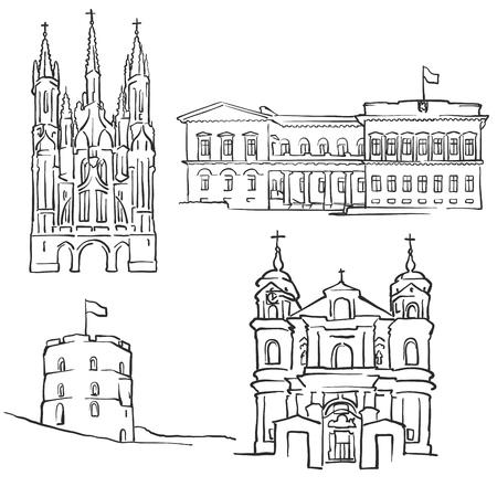 Vilnius Lithuania Famous Buildings, Monochrome Outlined Travel Landmarks, Scalable Vector Illustration
