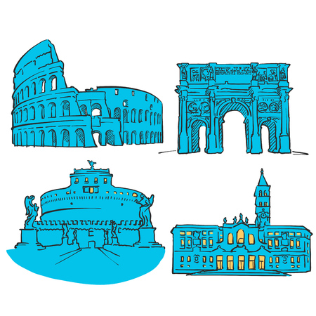 Rome Italy Colored Landmarks, Scalable Vector Monuments. Filled with Blue Shape and Yellow Highlights. Illustration