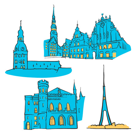 dom: Riga Latvia Colored Landmarks, Scalable Vector Monuments. Filled with Blue Shape and Yellow Highlights. Illustration