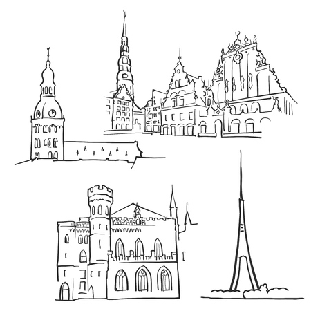 dom: Riga Latvia Famous Buildings, Monochrome Outlined Travel Landmarks, Scalable Vector Illustration