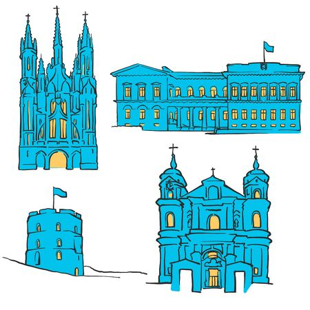 paul: Vilnius Lithuania Colored Landmarks, Scalable Vector Monuments. Filled with Blue Shape and Yellow Highlights.