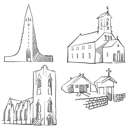 church group: Reykjavik Iceland Famous Buildings, Monochrome Outlined Travel Landmarks, Scalable Vector Illustration