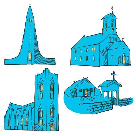 urbane: Reykjavik Iceland Colored Landmarks, Scalable Vector Monuments. Filled with Blue Shape and Yellow Highlights.