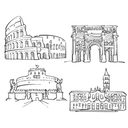 Rome Italy Famous Buildings, Monochrome Outlined Travel Landmarks, Scalable Vector Illustration