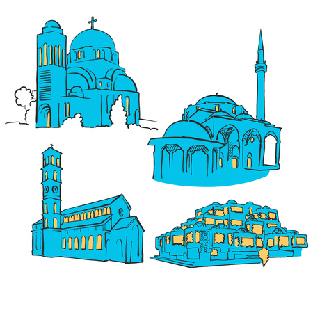 Pristina Kosovo Colored Landmarks, Scalable Vector Monuments. Filled with Blue Shape and Yellow Highlights. Illustration