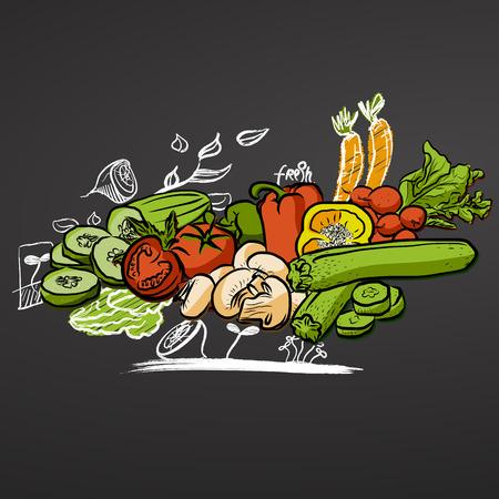 Getekende groenten op schoolbord, hand getrokken voedsel doodles en gekleurde groenten. Gereed voor afdrukken, zoals Flyers, menukaarten en online marketingcampagnes.