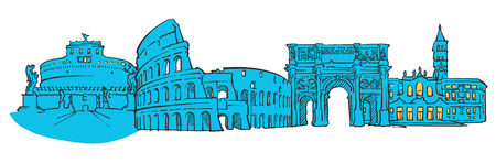 castel: Rome Italy Colored Panorama, Filled with Blue Shape and Yellow Highlights. Scalable Urban Cityscape Vector Illustration