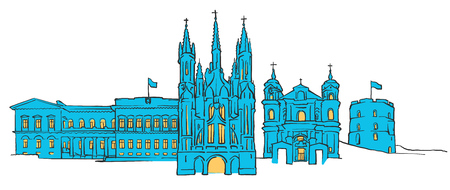 paul: Vilnius Lithuania Colored Panorama, Filled with Blue Shape and Yellow Highlights. Scalable Urban Cityscape Vector Illustration Illustration