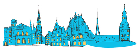 Riga Latvia Colored Panorama, Filled with Blue Shape and Yellow Highlights. Scalable Urban Cityscape Vector Illustration Illustration