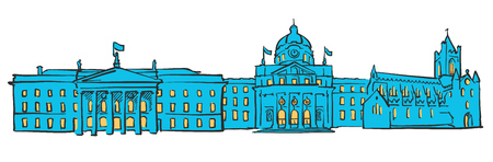 post office building: Dublin Ireland Colored Panorama, Filled with Blue Shape and Yellow Highlights. Scalable Urban Cityscape Vector Illustration
