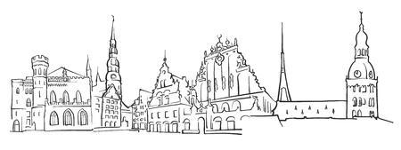 Riga Latvia Panorama Sketch, Monochrome Urban Cityscape Vector Artprint Illustration