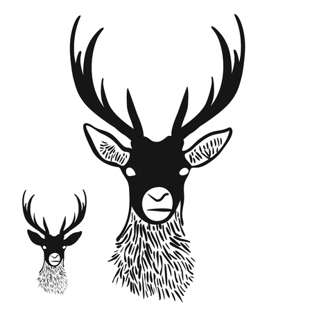 Deer Head Silhouette, Digital Wall Art, Vector Drawing, Various versions for Large Print and small Icon.