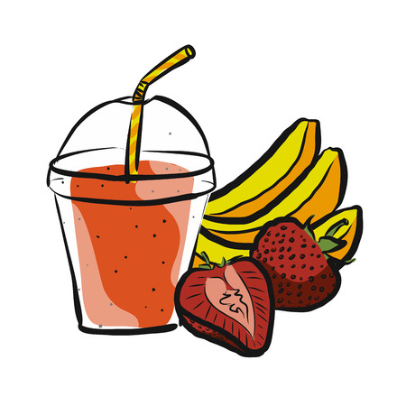 Banana Strawberry Smoothie, Colored Artwork separated on White, Fresh Food Collection, Handdrawn Clean Summer Sketch