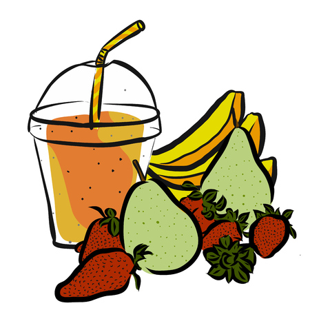 Pear Strawberrie Banana Smoothie, Colored Artwork separated on White, Fresh Food Collection, Handdrawn Clean Summer Sketch