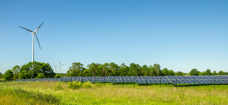 Solar Power Plant and Windmill in Background, Landscape Format for Banner Advertising