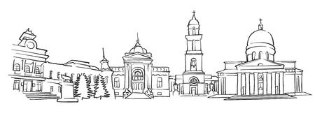 Chisinau, Moldova, Panorama Sketch, Monochrome Urban Cityscape Vector Artprint