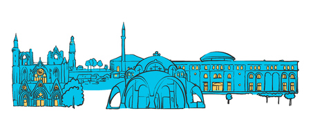 Skopje, Macedonia, Colored Panorama, Filled with Blue Shape and Yellow Highlights. Scalable Urban Cityscape Vector Illustration