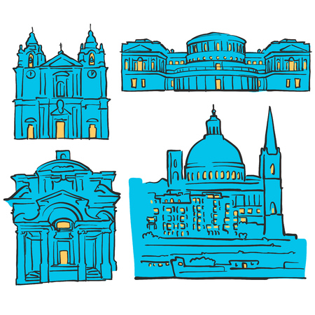 Valletta, Malta, Colored Landmarks, Scalable Vector Monuments. Filled with Blue Shape and Yellow Highlights.