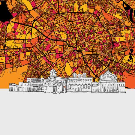 Bucharest, Romania, Skyline Map, Modern Colourful Art Print with Historic Cityscape Landmarks