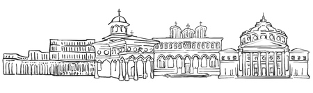 Bucharest, Romania, Panorama Sketch, Monochrome Urban Cityscape Vector Artprint