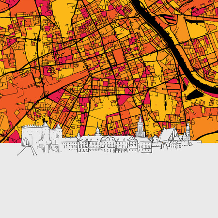 Warschau, Polen, Skyline-kaart, moderne kleurrijke kunstdruk met historische stadsgezichten